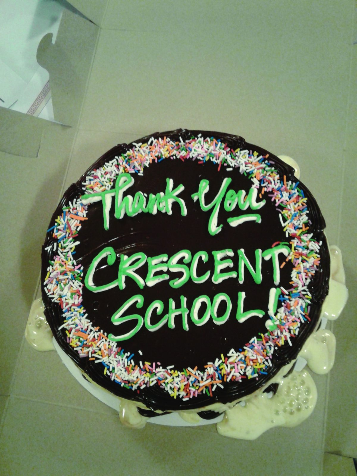 Cake with Thank You Crescent School written on it