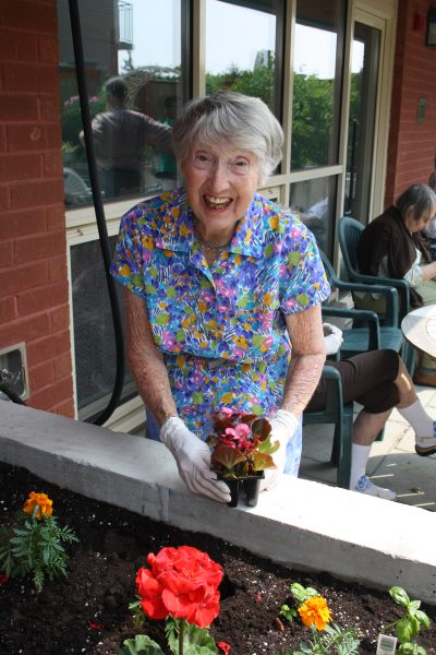 Senior female client planting flowers