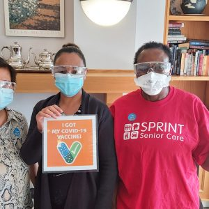 SPRINT Senior Care, staff with masks